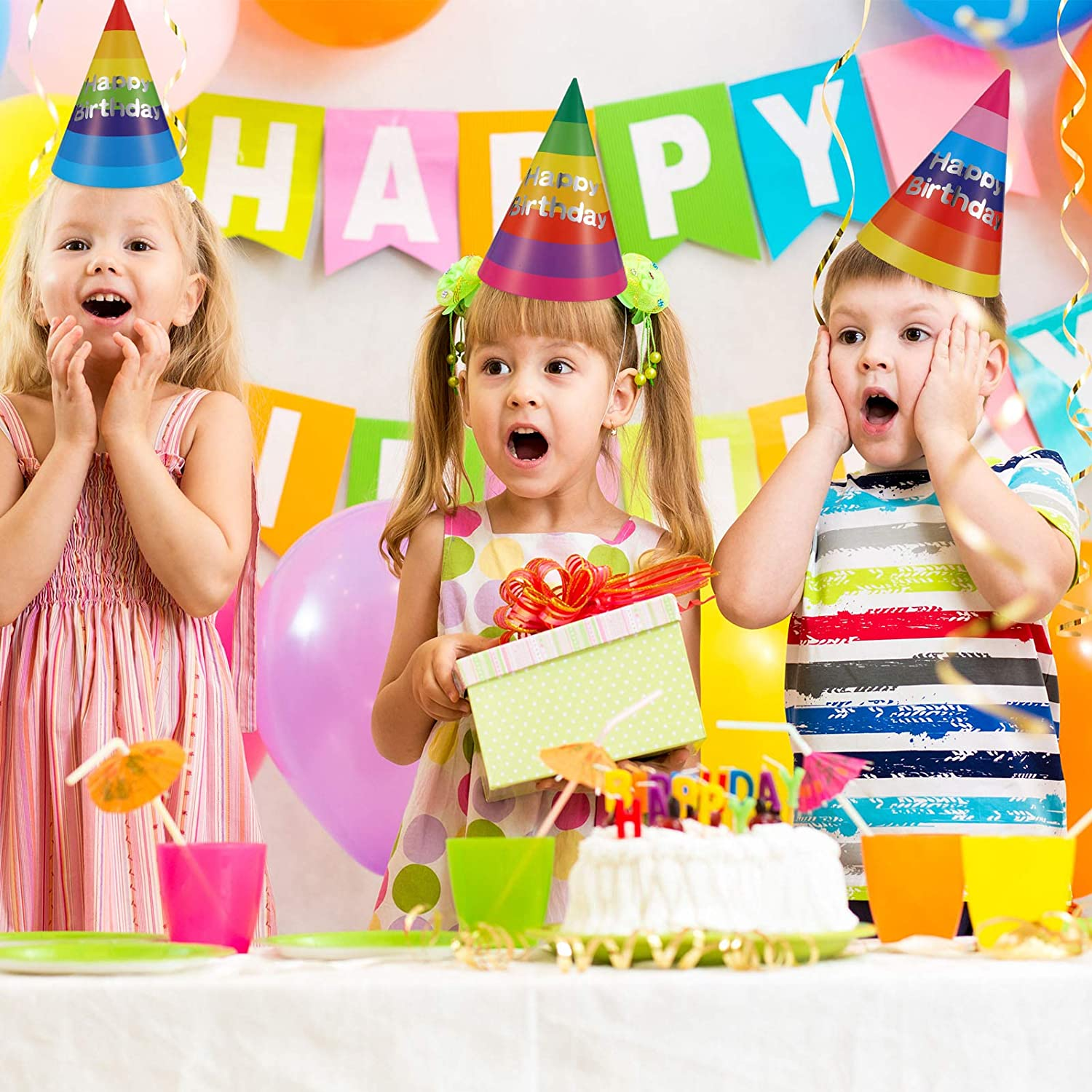 Auxsoul Happy Birthday Banner with Colorful Birthday Party Hats Birthday Decorations Banner with 10 Birthday Paper Hats Rainbow Birthday Decorations for Children Baby Birthday Supplies