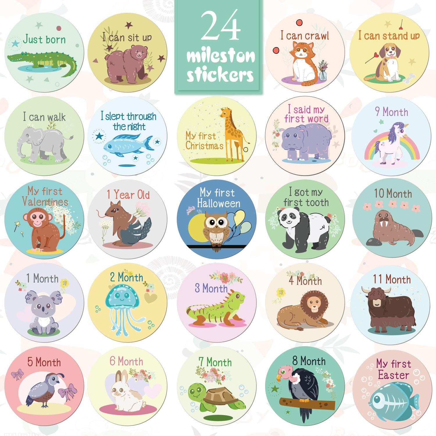 Baby Milestone Stickers,Baby Monthly Stickers 0-12 Month Stickers,Animal Self-Adhesive Baby Boy Milestone Stickers Set of 24