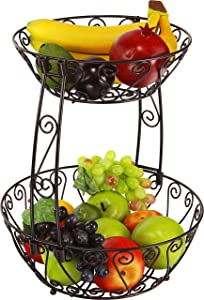 2-Tier Countertop Fruit Basket Bowl Storage, Bronze