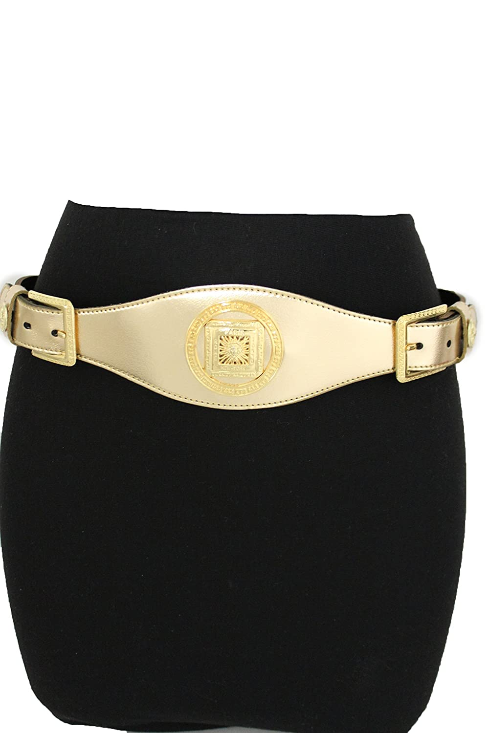 TFJ Women Trendy Fashion Belt Double Buckles Big Hot Sun Charms Metallic Gold Xs S