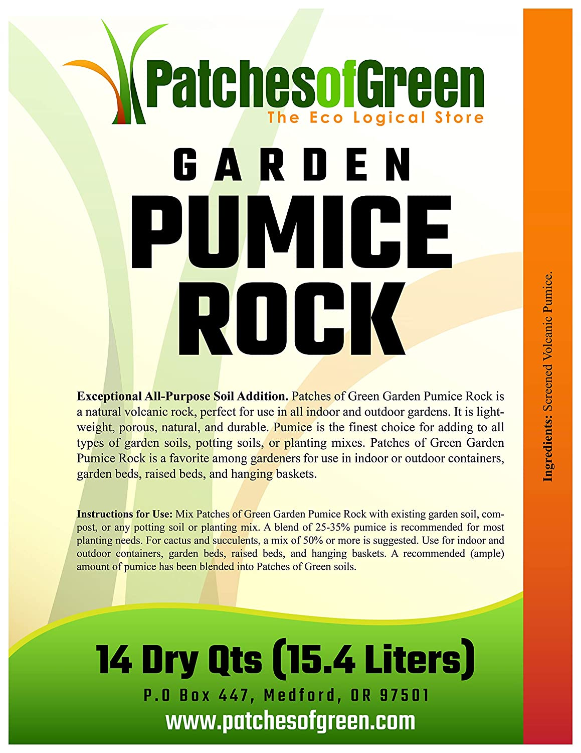 Patches of Green Volcanic Garden Pumice Rock from 14 Dry Quarts Bag