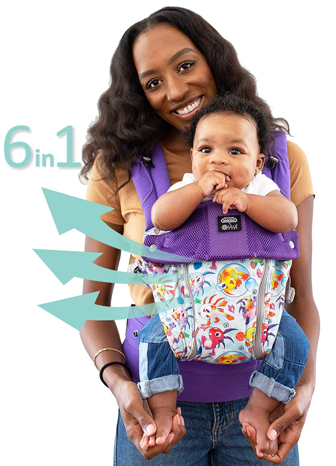 LÍLLÉbaby The Complete All Seasons SIX-Position 360° Ergonomic Baby & Child Carrier (World of Warcraft Cute but Deadly Murloc) - Cotton Baby Carrier Comfortable and Ergonomic LILLEbaby SC-3S-108-CBD