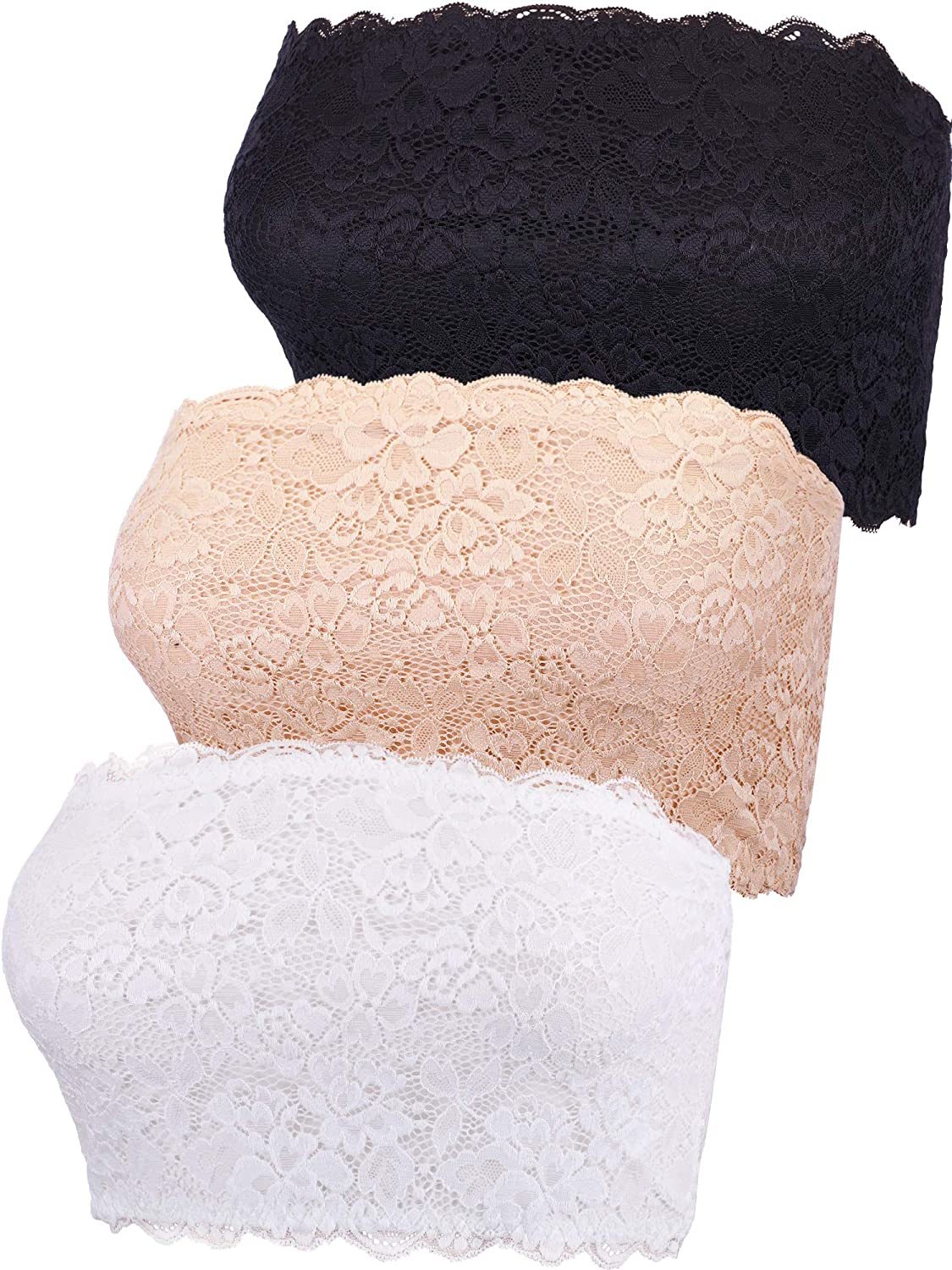 Boao 3 Pieces Women's Floral Lace Tube Top Bra Bandeau Strapless Bras Seamless Stretchy Chest Wrap