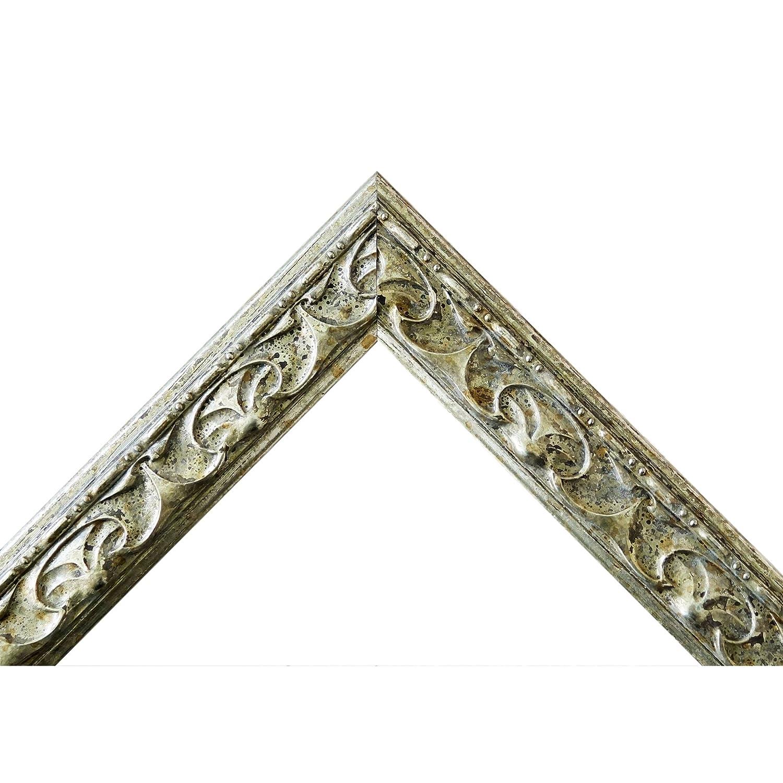 Bilderrahmen Silber - 40 40 40 x 50 cm mit Normalglas - Antik, Barock - Alle Größen - Handgefertigt - Galerie-Qualität - WRF - Mantova 3,1 851884