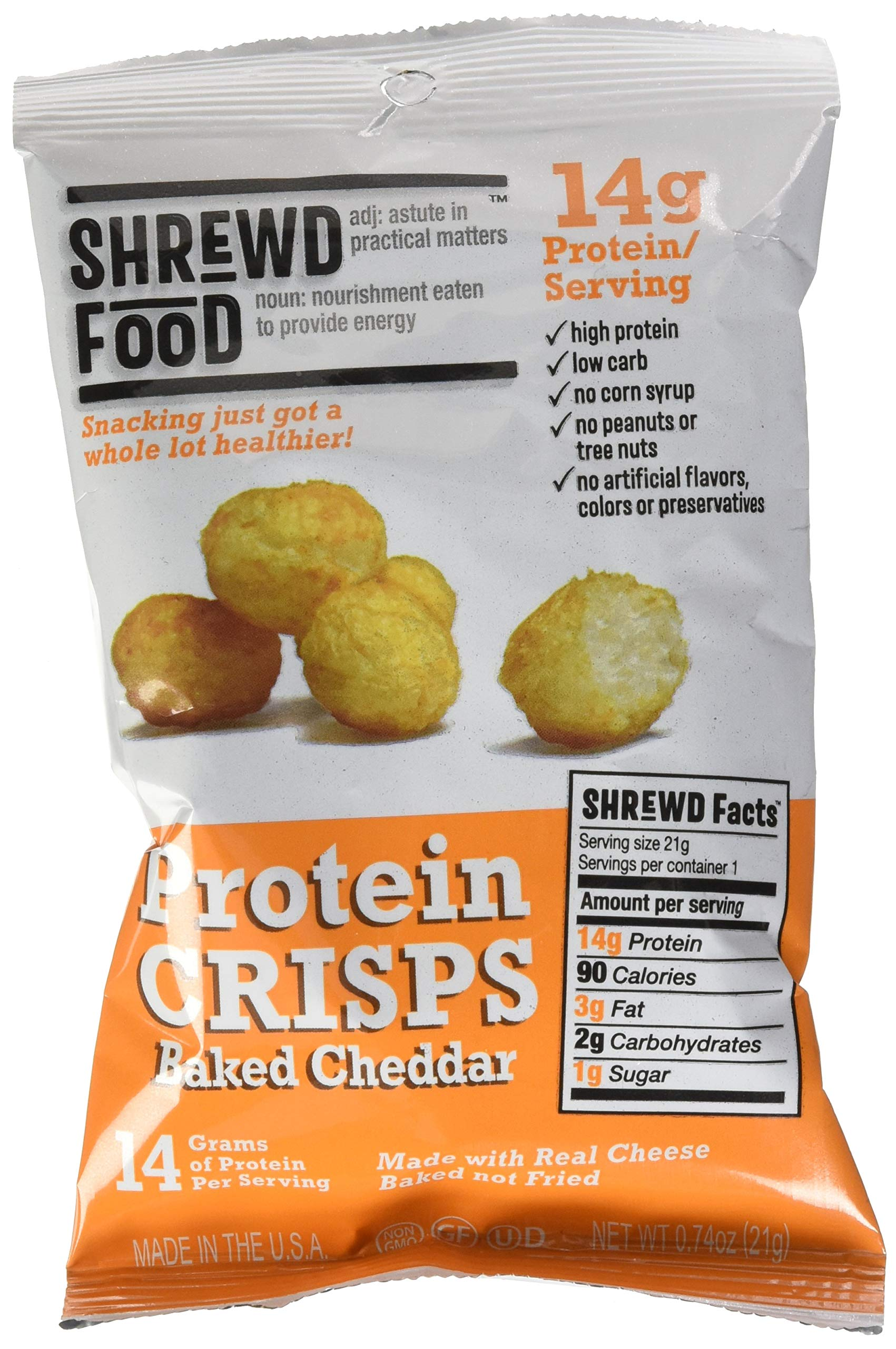 Shrewd Food Baked Cheddar Keto Protein Crisps | High Protein, Low Carb, Gluten Free Snacks | Real Cheese, No Artificial Flavors | Soy Free, Peanut Free (8-Pack of .74oz Bags)