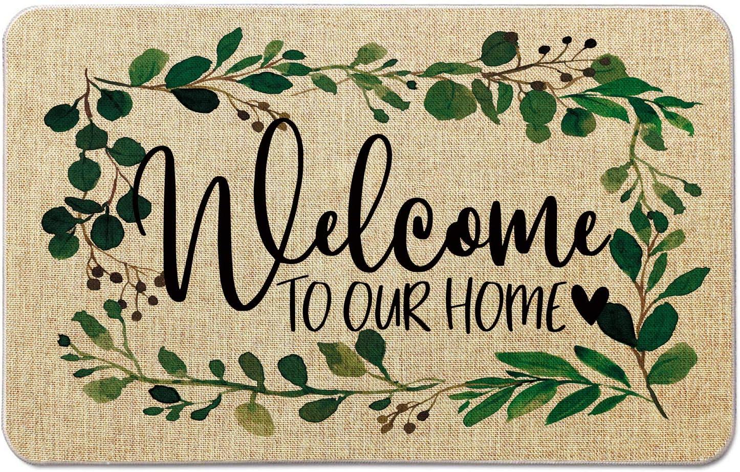 Welcome Mat for Front Door Farmhouse Rustic Decorative Entryway Outdoor Floor Doormat Durable Burlap Outdoor Rug | Welcome to Our Home