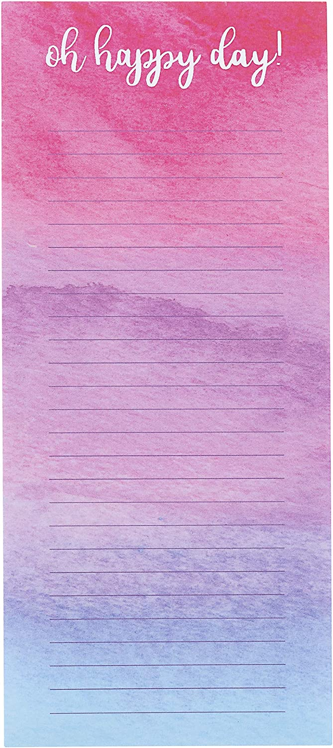 Darice 30076542 Memo Pad with Magnet: Oh Happy Day Print, 60 Sheets, 8 x 3.5 inches, Multicolor