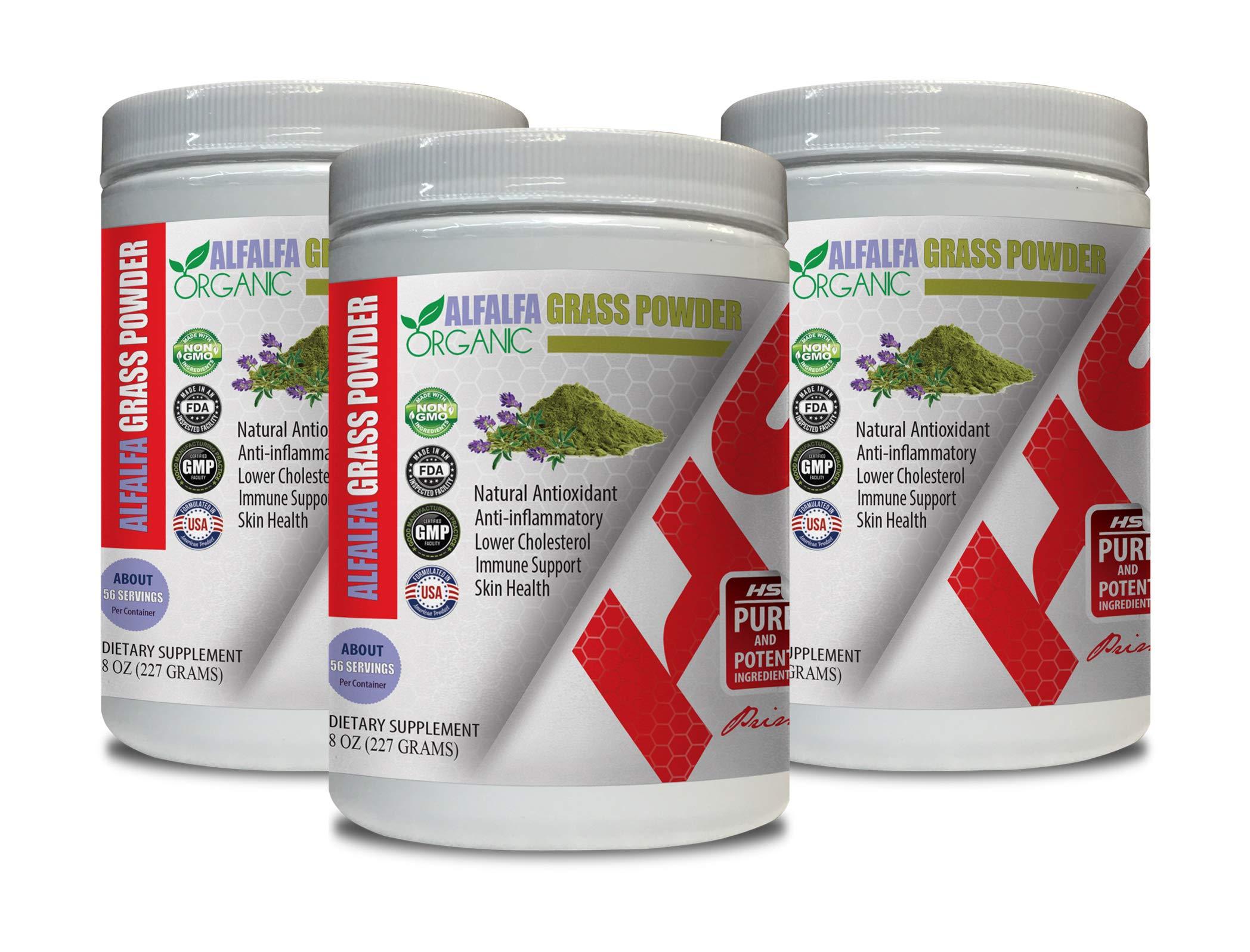 antioxidant Anti Aging - Alfalfa Grass Powder Organic - Digestion aid - 3 Cans 24 OZ (168 Servings)