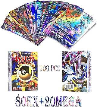 JIM - 100 Piezas Pokemon Cartas,Tarjetas de Pokemon,Pokemon Trading Cards,Cartas Pokémon Game Battle Card,80ex+20mega: Amazon.es: Juguetes y juegos