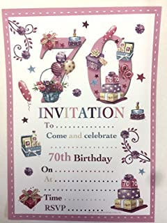 70th Birthday Party Invitations Female Design 20 Sheets And Envelopes