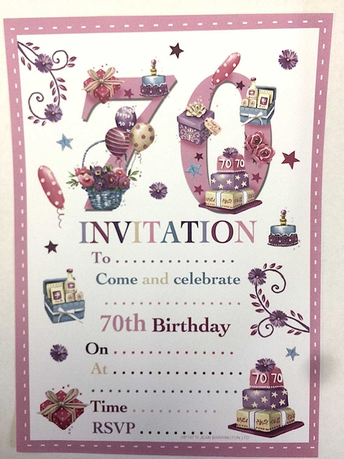 70th Birthday Party Invitations Female Design 20 Sheets And Envelopes Amazoncouk Toys Games