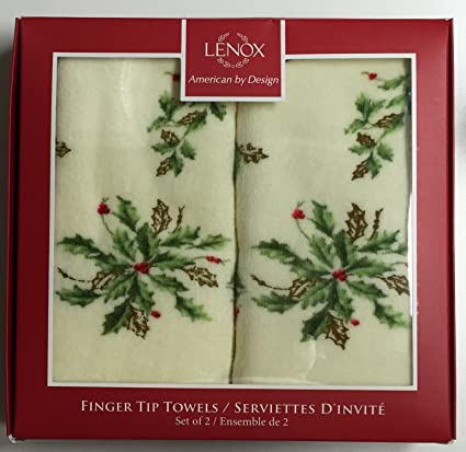 2 Christmas Lenox Holiday Fingertip Towels In Lenox Gift Box