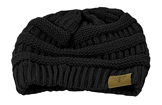 1a12b30317f Belle Donne Women s Winter Fleece Lined Cable Knitted Pom Pom Beanie Hat -  Black