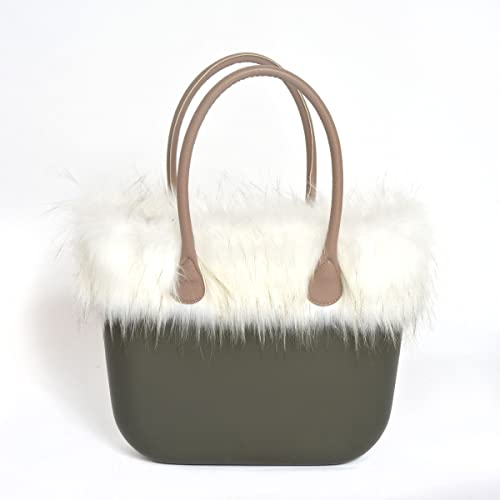 a88c311877 Volcano Classic O Bag with White Fox Faux Fur and Long Dove Eco Leather  Handles  Amazon.ca  Shoes   Handbags