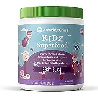 Amazing Grass, Kidz Superfood, Berry Blast, 30 Servings, 6.35 Oz, Greens, Fruits, Veggies, Probiotics, Organic Wheat Grass, Organic Carrot, Spinach, Broccoli, Vitamin A
