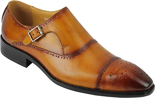 TALLA 46 EU. De Cuero Real de los Hombres pulidas a Mano de la Vendimia Pintado Monk Correa Inteligentes Zapatos de Vestir Formal en Tan Brown