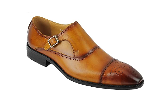 Mens Real Leather Vintage Burnished Hand Painted Monk Strap Smart Formal Dress Shoes In Tan Brown
