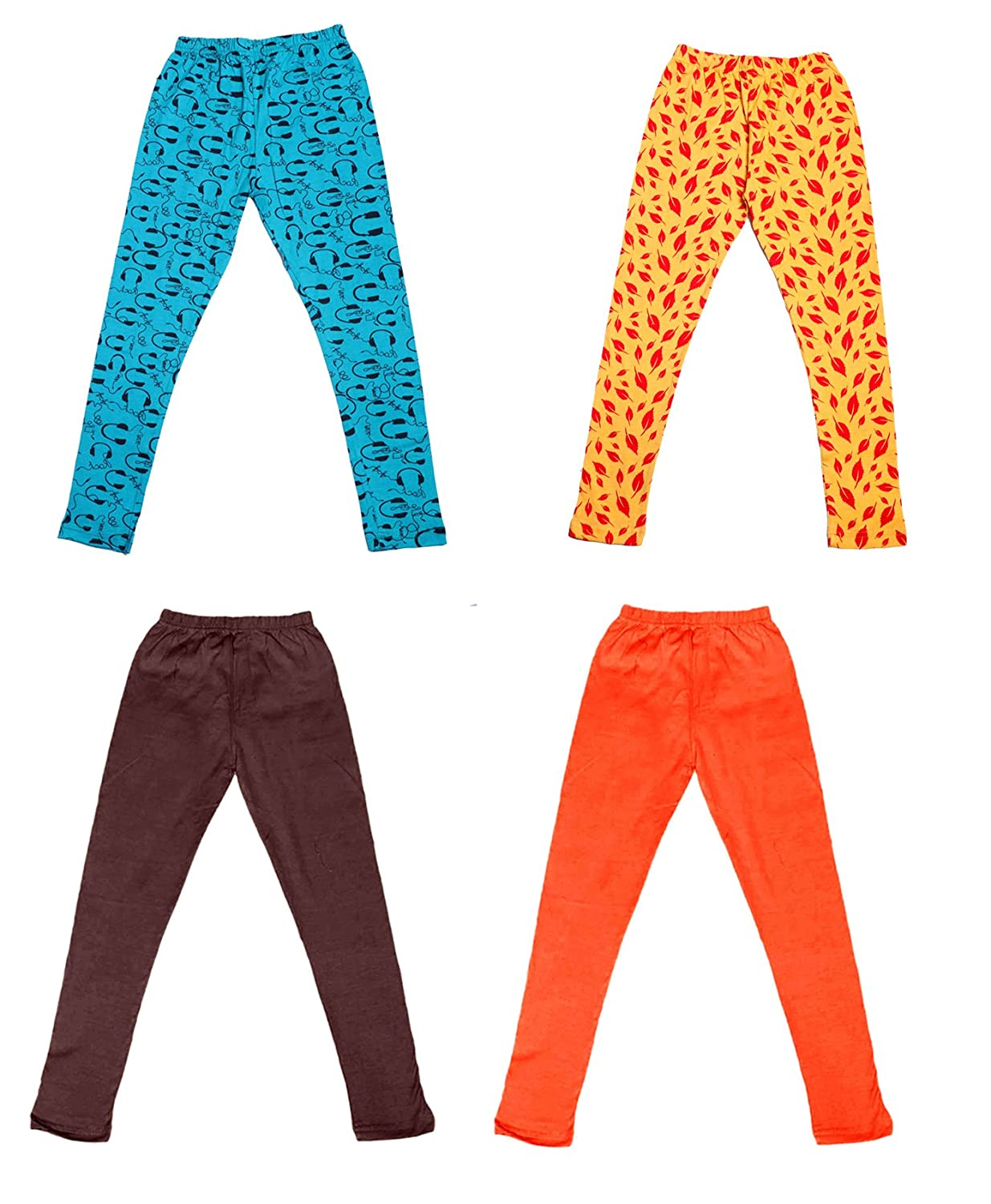 Indistar Girls 2 Cotton Solid Legging Pants /_Multicolor/_Size-7-8 Years/_71413141718-IW-P4-30 and 2 Cotton Printed Legging Pants Pack Of 4