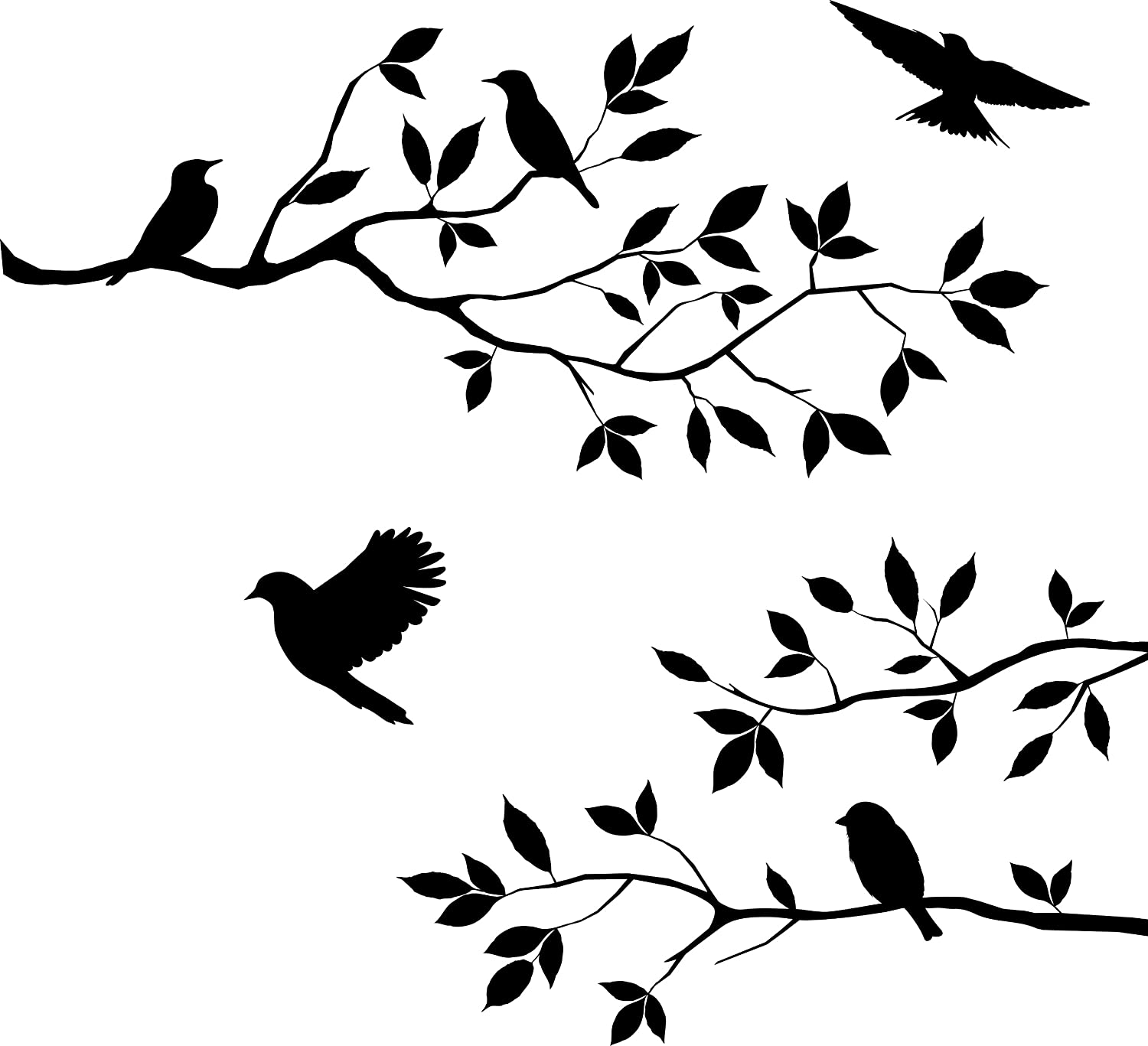 Burnish Birds & Blossoms Vinyl Wall Decal, 16 x 24-Inches