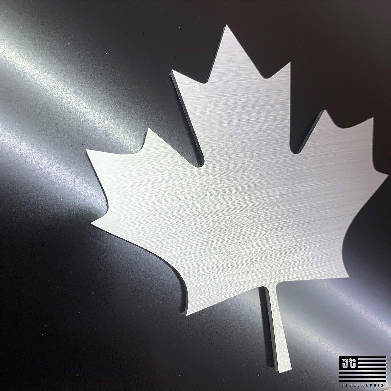 JASS GRAPHIX Canadian Flag Maple Leaf 2D License Plate Brushed Aluminum on Black