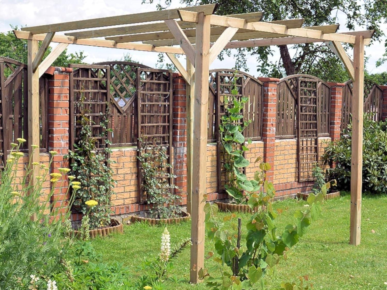 Losa Pérgola cenador 3 x 3 de pino impregnado cobertura de exteriores techo: Amazon.es: Jardín