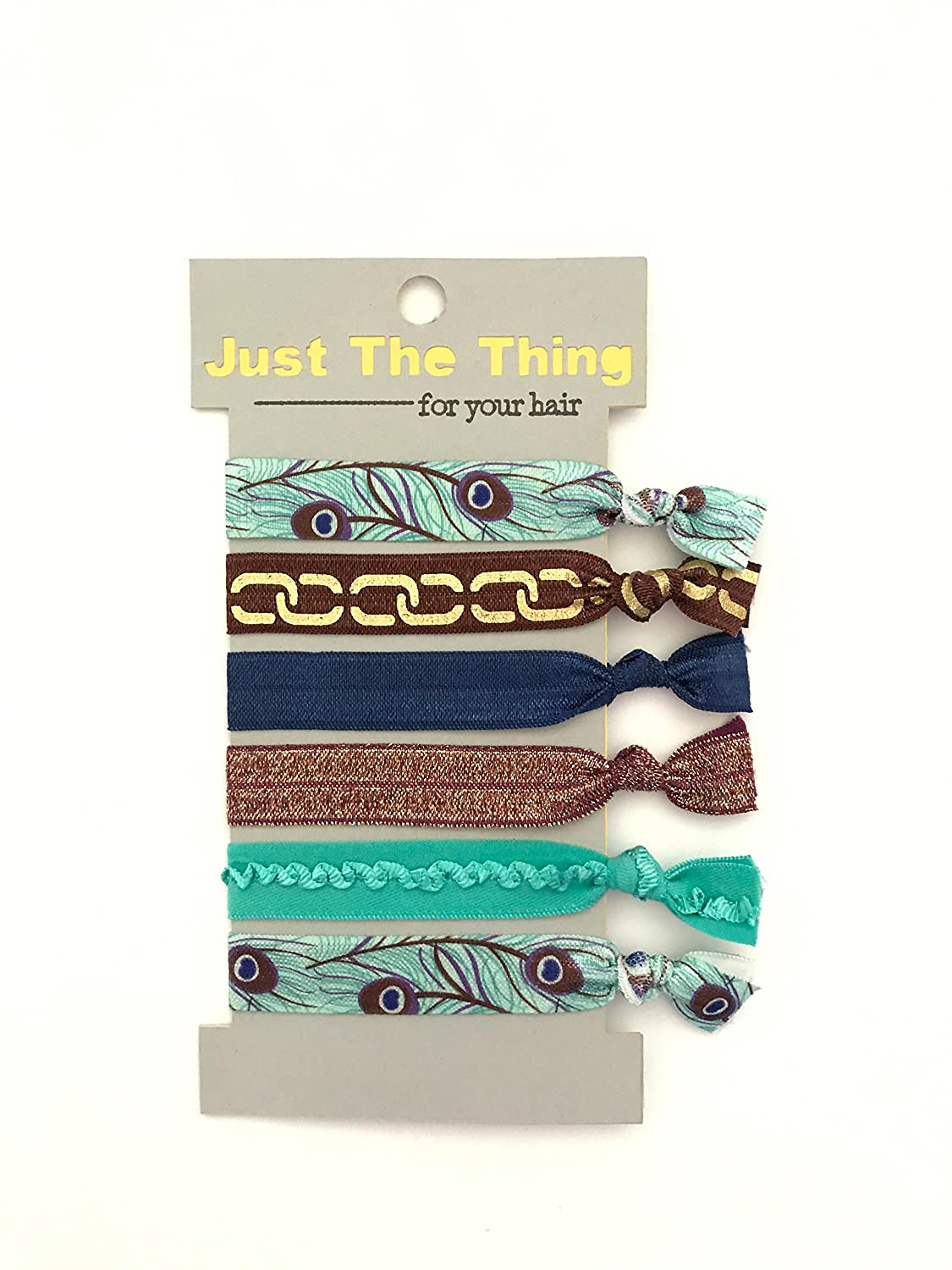 Elastic Hair Tie Peacock Collection - Set of 6 Bands