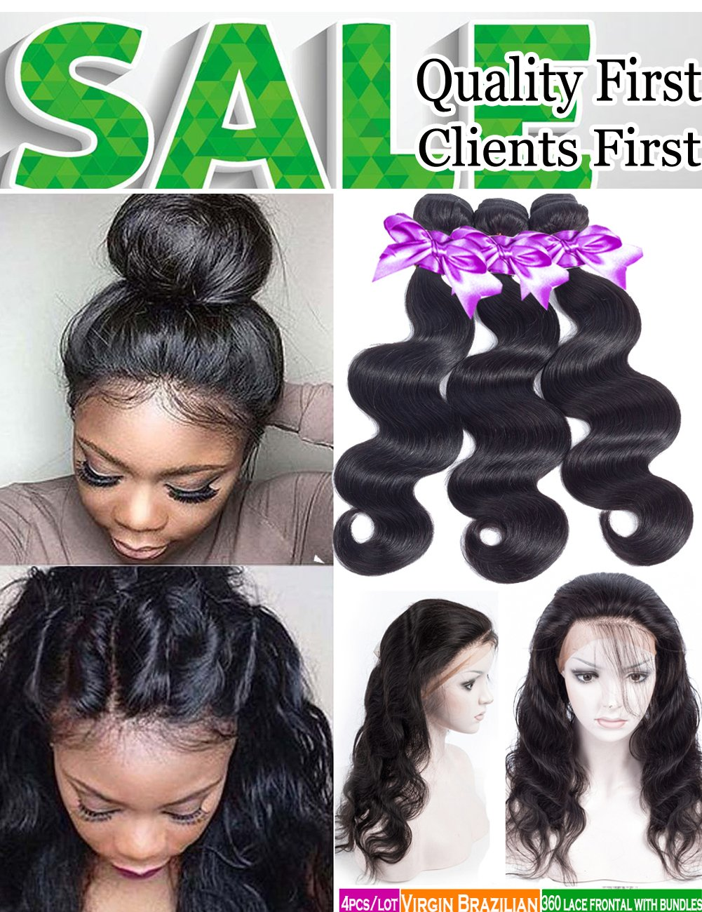 Brazilian Body Wave 3 Bundles With Closure Pre Plucked 360 Lace Frontal With Bundles 8A Unprocessed Brazilian Human Hair Bundles with Closure (16 18 20 with14'' 360 Frontal Closure)