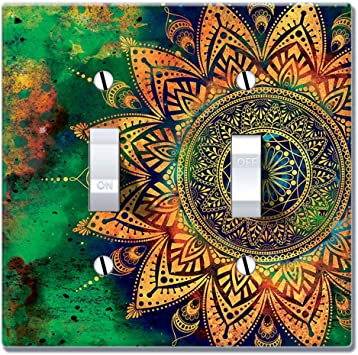 Wirester Double Gang Toggle Light Switch Plate Wall Plate Cover Ancient Mandala Amazon Com