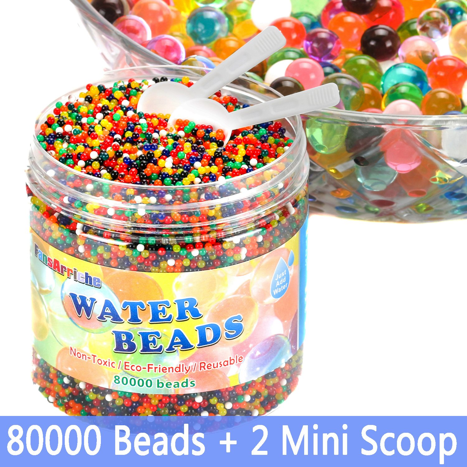 FansArriche Water Beads for kids, 80,000 beads & 2 Counting Scoop Orbeez Beads Water Jelly Beads Gel Water Growing Balls for Orbies Foot Spa Refill,Kids Sensory Toys, Plants Vases