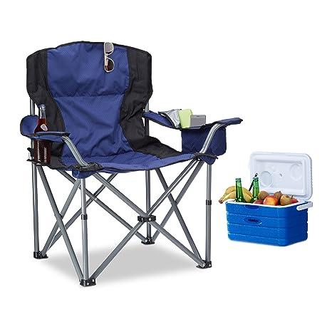 Relaxdays Silla Plegable Camping con reposabrazos y Soporte ...