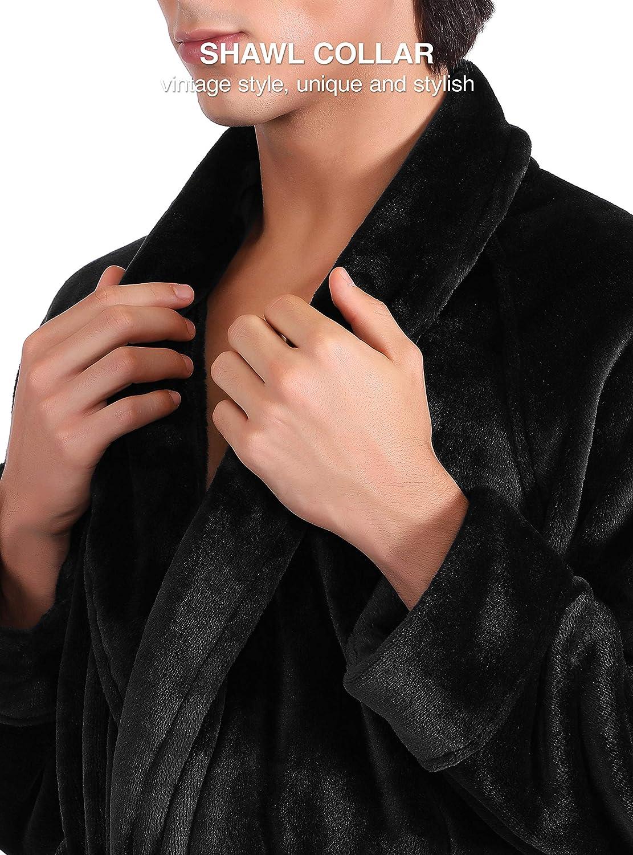 David Archy Mens Fleece Robe Ultra Soft Plush Shawl Collar 3//4 Length Long Bathrobe