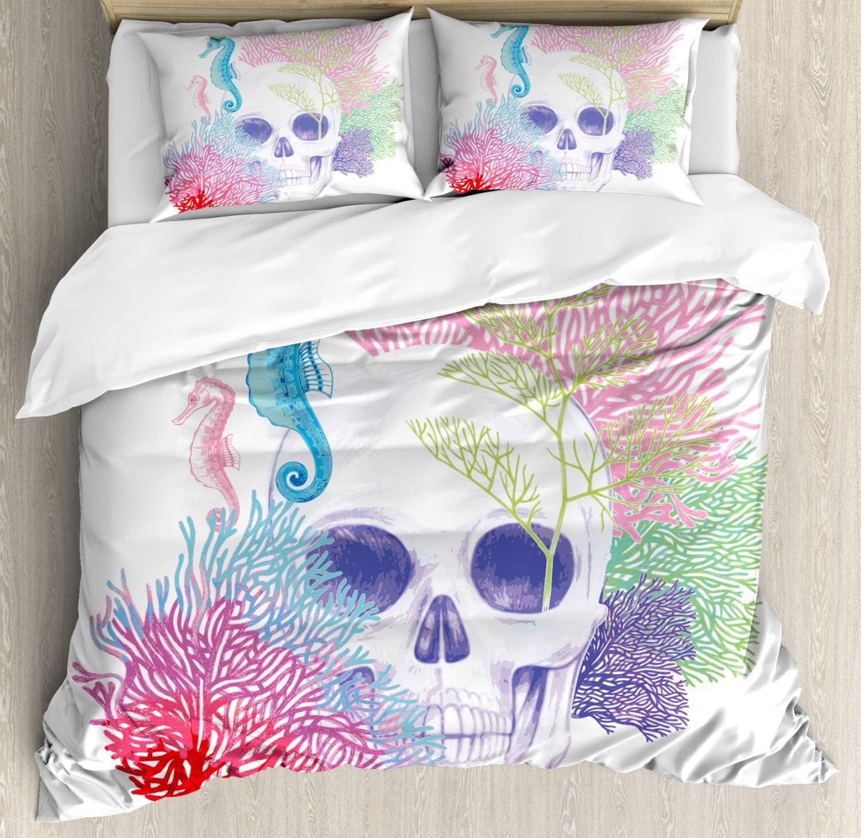 Erosebridal Seaweed Bedding Sets Twin Size Skull Decor Duvet Cover for Teen Kids Boys Girls Hippocampus Bedding Comforter Set Ocean Underwater Theme Printed Bedspread with Zipper Closure