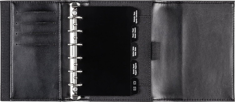 schwarz 7,6 x 12,7 cm, Kunstleder-Ringbuch, mit Klappe und Magnetverschluss, 6-Ring-Kipphebelmechanik, ohne Kalendarium rido//id/é 706704790 Zeitplansysteme//Ringbuchkalender//Timer Timing