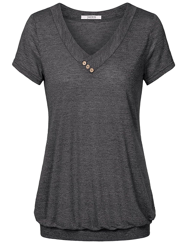 Jazzco Women S V Neck Short Sleeve Banded Bottom Blouse T Shirt