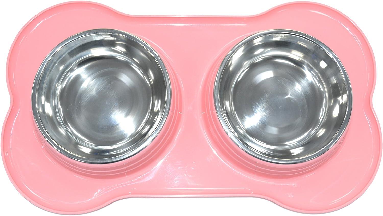 Verde SHINE Double Pet Feeding TAZ/ÓN DE Acero Inoxidable con Doble PL/ÁSTICO Pet Feeder Perro//Cat//Cualquier Animal PEQUE/ÑO ALIMENTO//Agua Dish