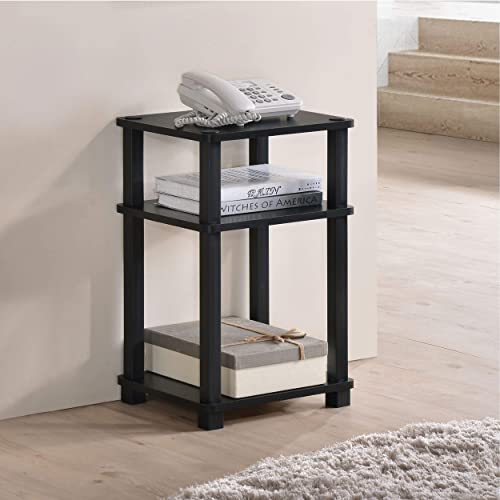 Fortress 3-Tier End Table Side Table Telephone Stand Black Black