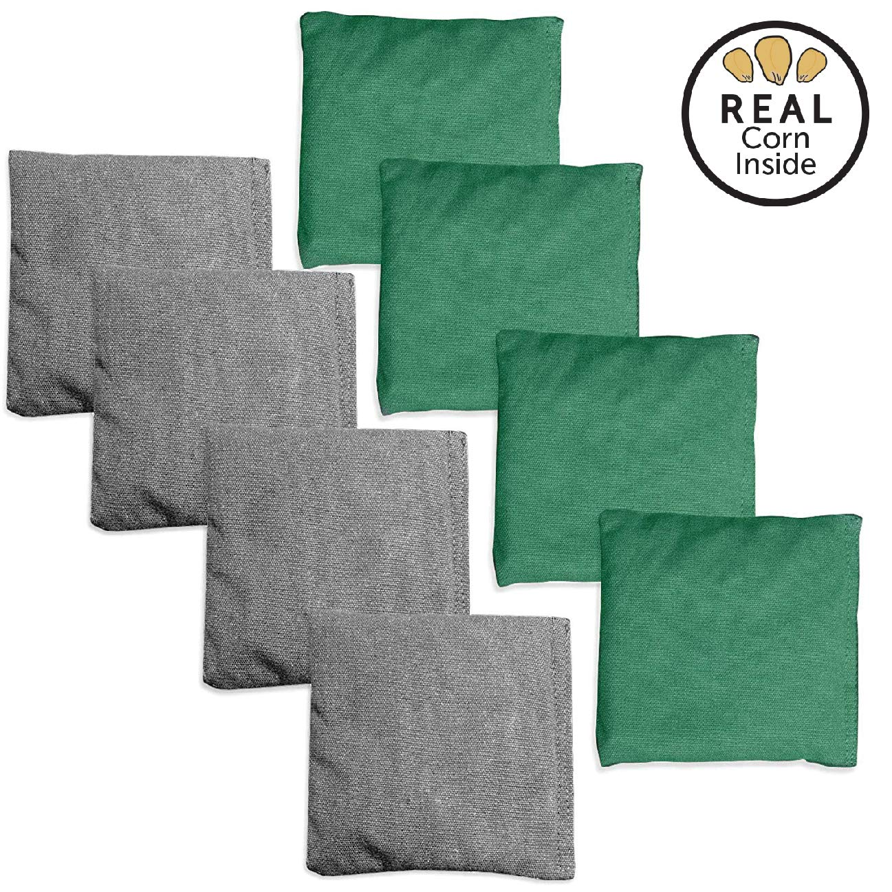 Corn Filled Cornhole Bags - Set of 8 Bean Bags for Corn Hole Game - Regulation Size & Weight - Bright Green & Gray