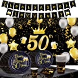 Mocossmy Super Luxurious 50th Birthday Party Table Decorations Kit,Cheers to 50th Years Old Party Decorations for Parents or