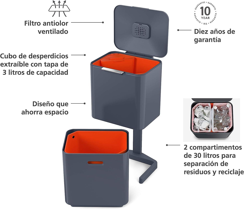 60 L Joseph Joseph Unidad de separaci/ón de residuos y Reciclaje con una Capacidad m/áxima de 60 litros Totem Gris Urbano