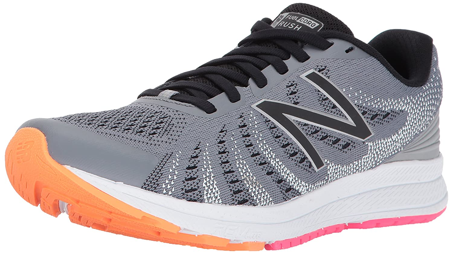 New Balance Women's Rushv3 Running-Shoes B01N43MA8K 8 B(M) US|Steel/Black