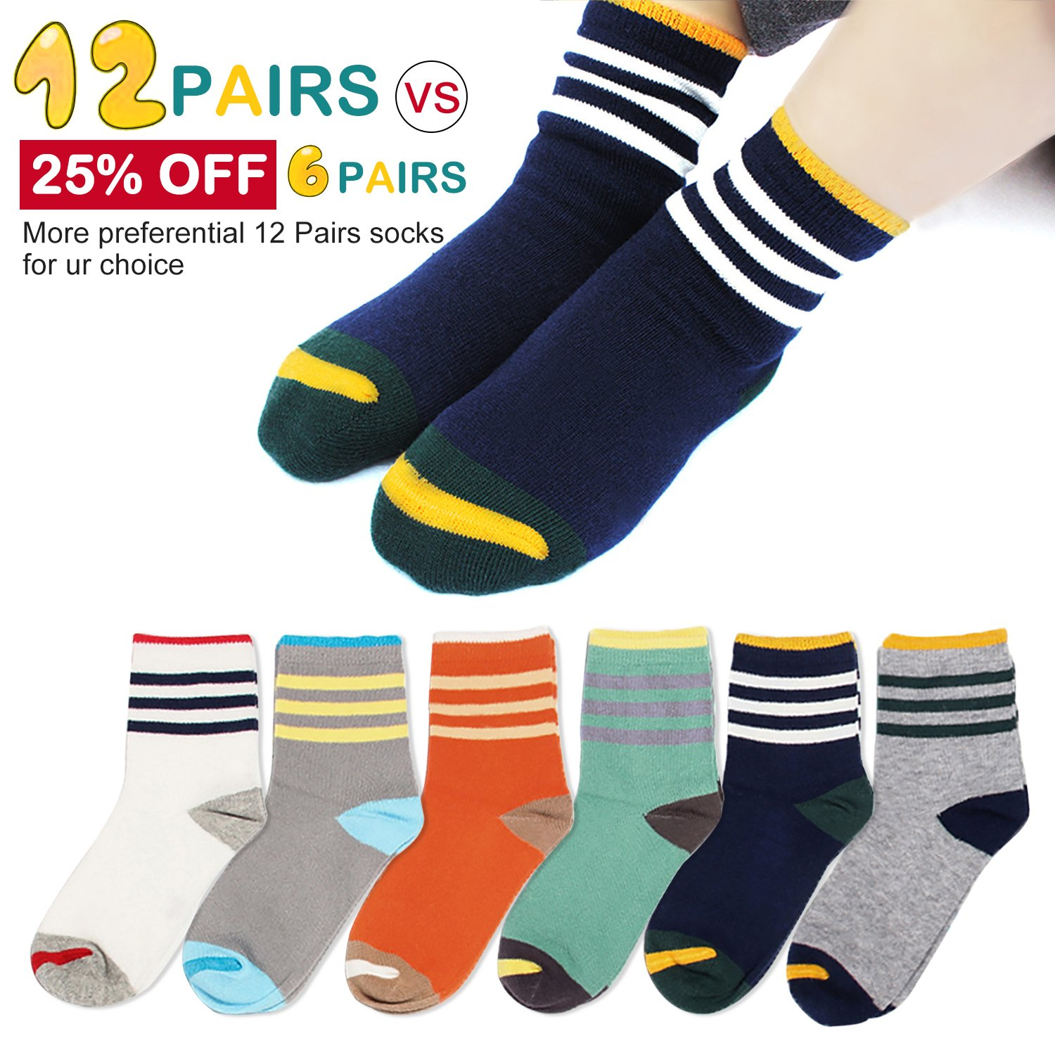 Kids Boys Girls Youth Crew Cotton Socks Toddler Non Skid Contrast Striped Athletic Quarter 5t 6t 7t for Sports Ankle Seamless Queen-Ks