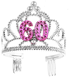 KaKaxi 60th Hair Happy Birthday Accessories Set Silver Crystal Tiara Birthday