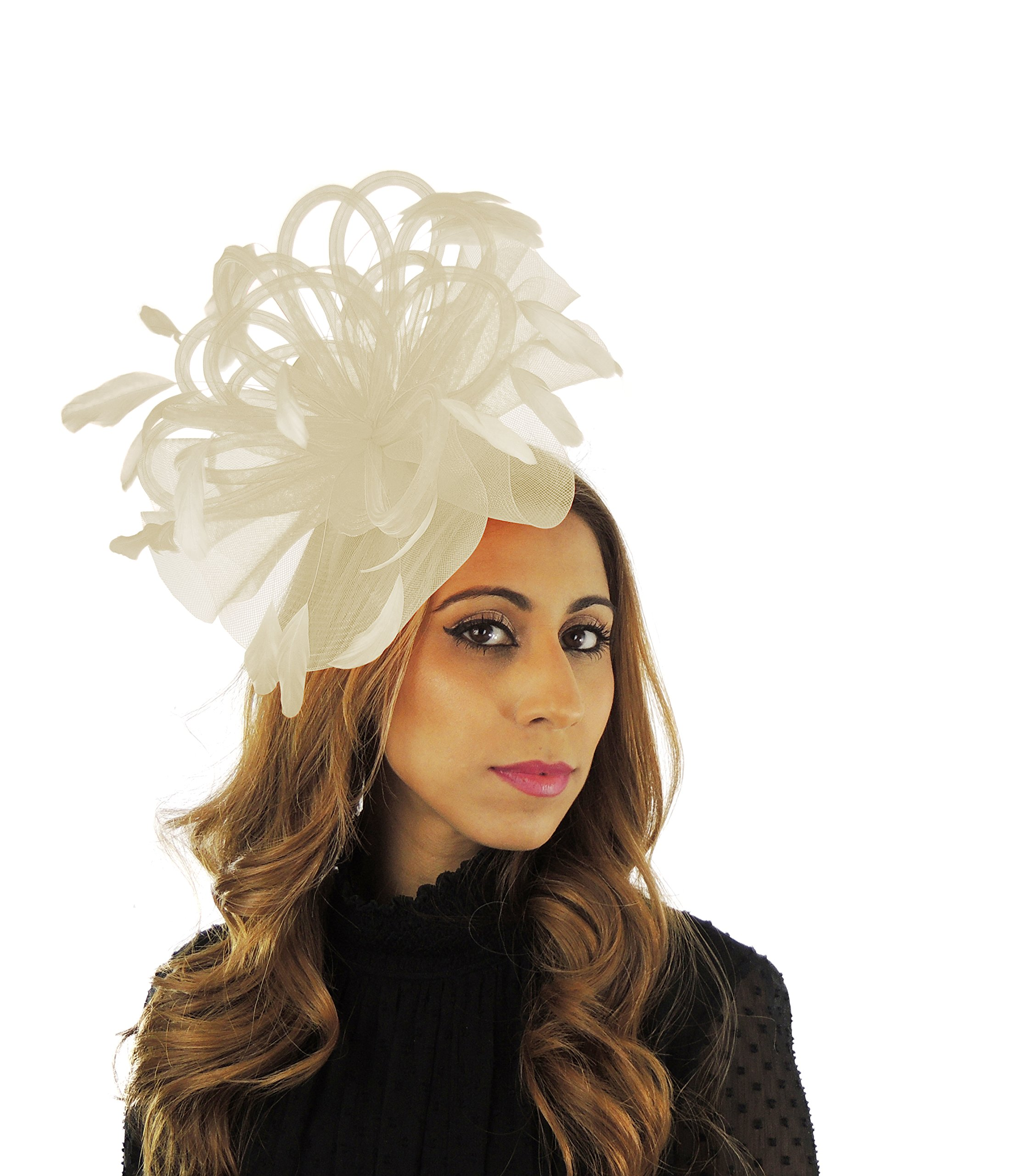 Hats By Cressida Black Velvet 8 Inch Sheer Ascot Kentucky Derby Fascinator Hat With Headband - Cream
