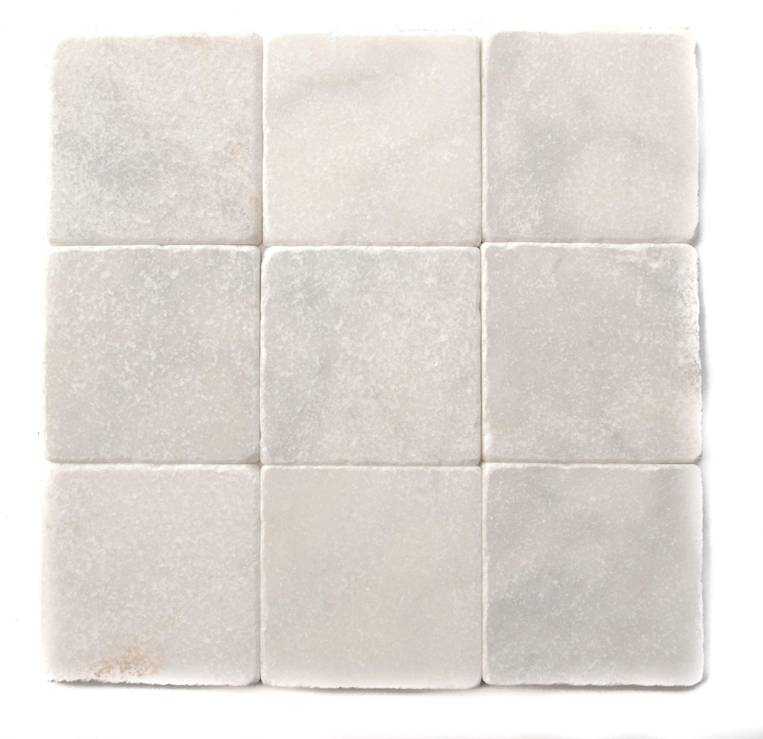 Bianco Venato Marble 4x4 Tumbled Tiles (LOT of 50 SQ. FT.)