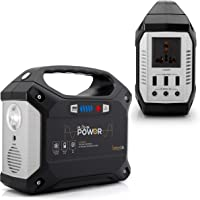 SereneLife Portable Generator, 155Wh Power Station, Quiet Gas Free Power Inverter, CPAP Battery Pack, Charged by Solar Panel/Wall Outlet/Car with 110V AC Outlet,3 DC 12V,3 USB Port