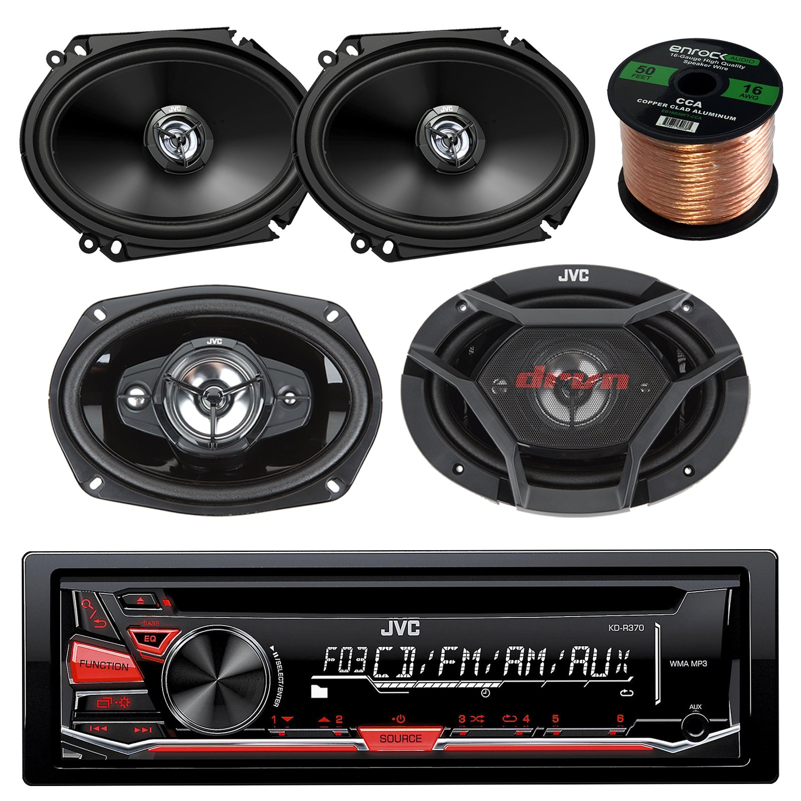 JVC KD-R370 CD/MP3 AM/FM Radio Player Car Receiver Bundle Combo With 2x CS-DR6820 300-Watt 6x8'' Inch Vehicle Coaxial Speakers + 2x DR6930 6x9'' Inch 3-Way Audio Speakers + Enrock 50 Feet 16-Gauge Wire