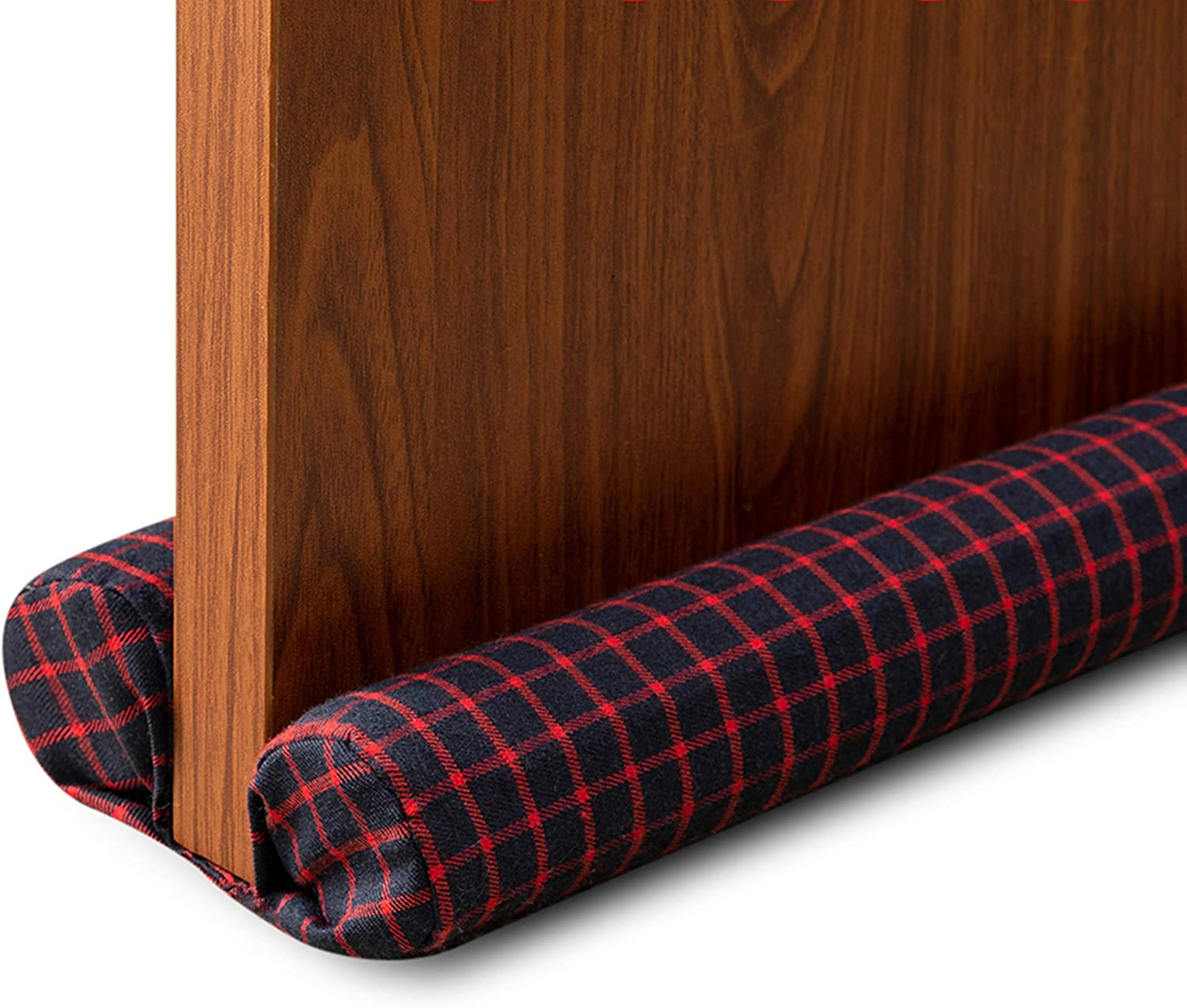 DreamQuil Door Draft Stopper 36 inches Noise Sound Light Smell Blocker, Double Sided Door Guard (Checker Red)