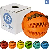 Zenify Puppy Toys Dog Toy Food Treat Interactive Puzzle Ball for Tooth Teething Chew Fetch Tennis Training Boredom Behaviour Dispensing Stimulation Pet Dogs & Puppies (Orange Large)