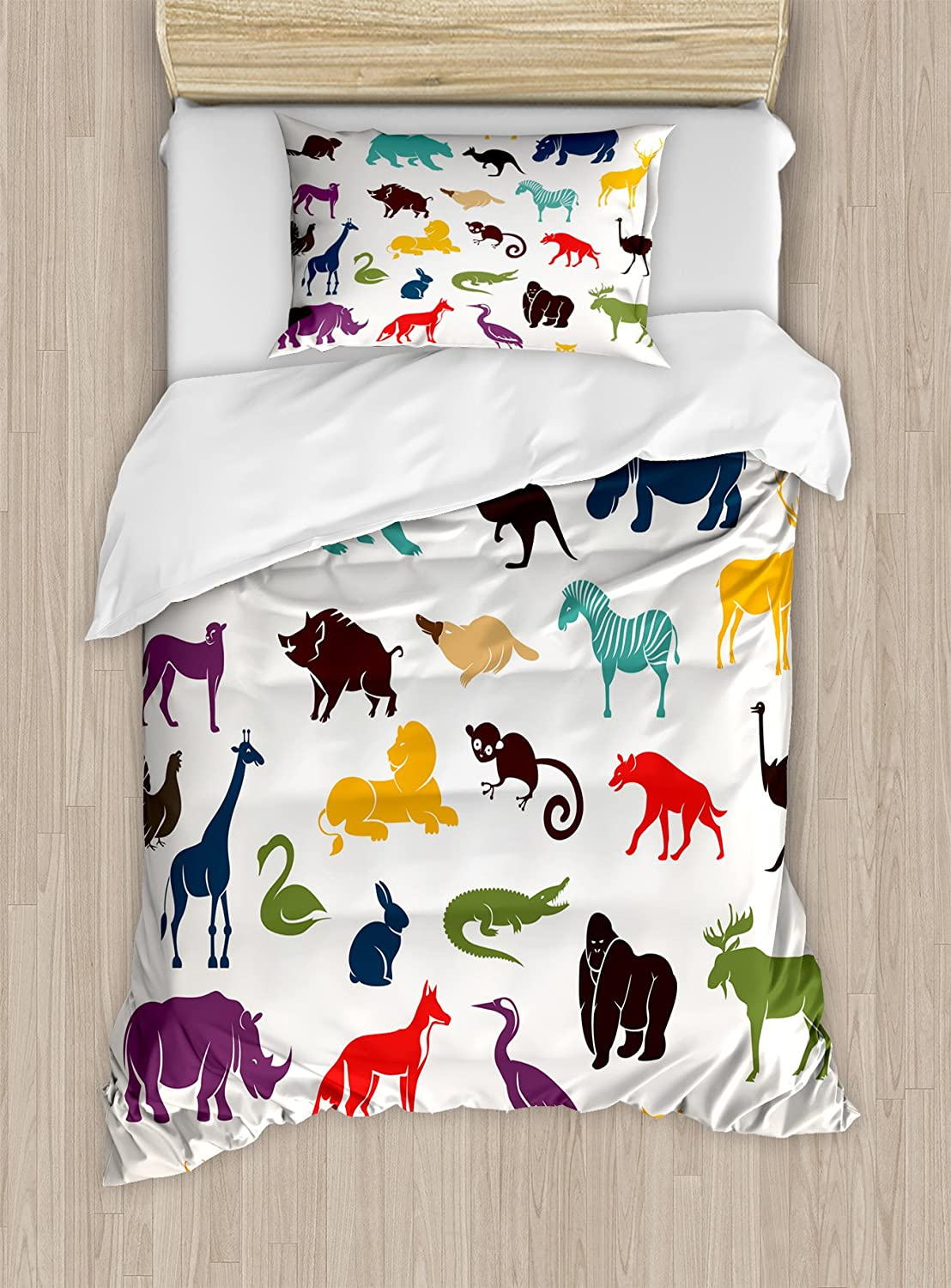 Ambesonne Zoo Duvet Cover Set, European Animal Silhouettes in Cartoon Style Safari Wildlife Zoo Theme, Decorative 2 Piece Bedding Set with 1 Pillow Sham, Twin Size, Orange Seafoam