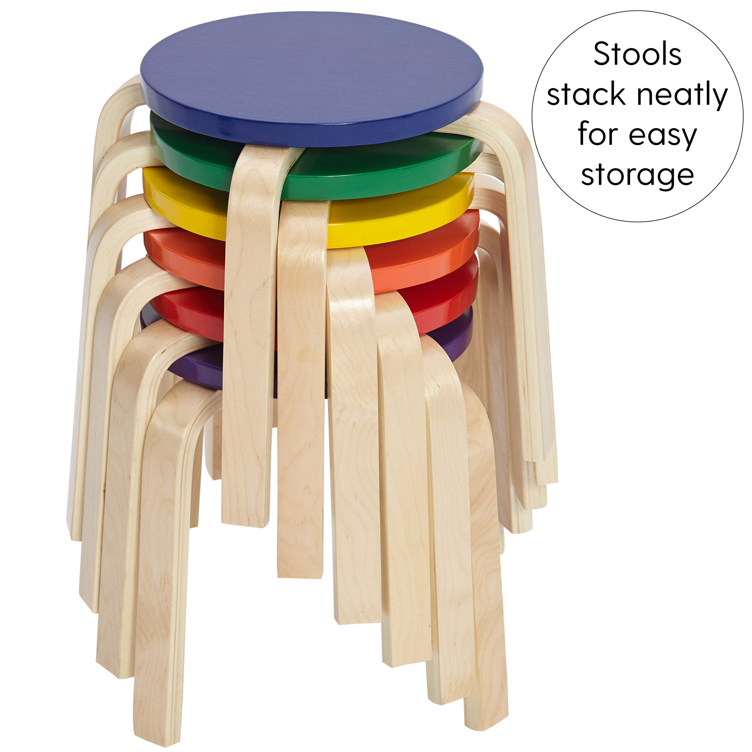 ECR4Kids Bentwood Stacking Stools for Kids, 12'' H, Assorted (6-Piece Set) by ECR4Kids (Image #4)